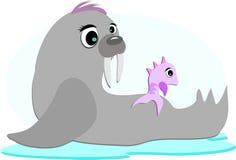 Valross och fisk som yttre ser Stock Illustrationer