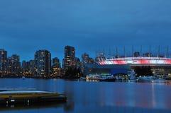 Vals Kreek en BC Stadion bij nacht Royalty-vrije Stock Afbeelding