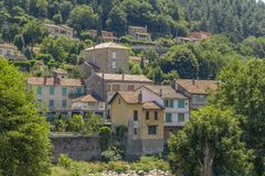 Vals-les-Bains. Scenery around Vals-les-Bains, a commune in the Ardeche department located at the Volane river in southern France royalty free stock photo