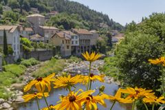 Vals-les-Bains. Scenery around Vals-les-Bains, a commune in the Ardeche department located at the Volane river in southern France stock photo