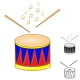 Vals och drumsticks royaltyfri illustrationer