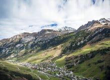 Vals village alpine valley landscape in central alps switzerland Royalty Free Stock Photography