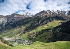 Vals village alpine valley landscape in central alps switzerland Stock Images