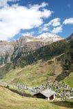 Vals village in switzerland alps. With alpine mountain landscape Stock Photo