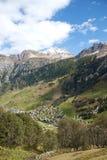 Vals village in switzerland alps. With alpine mountain landscape Royalty Free Stock Photo