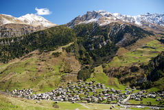 Vals village in switzerland alps. With alpine mountain landscape Royalty Free Stock Images