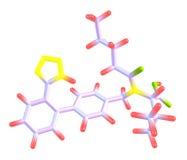 Valsartan molekylär modell som isoleras på vit Arkivfoto