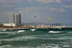 Valschermen over de Middellandse Zee Stock Afbeeldingen