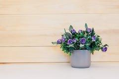 Valse bloem in vaas op houten achtergrond Royalty-vrije Stock Fotografie