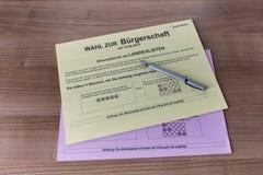 Valsedlar för val i Hamburg 2015 Royaltyfria Bilder