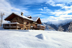 Valsesia Chalet. A stunning place during a snowshoeing in Valsesia ( Italia Royalty Free Stock Images