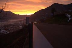 Valsugana på solnedgången royaltyfri foto