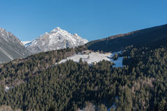Valtellina, Italy. Winter views of Valtellina in the area of Valdidentro near Bormio, Italy Royalty Free Stock Image