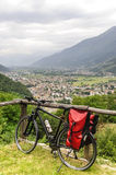 Valtellina, panoramic view, and bicycle Royalty Free Stock Photos