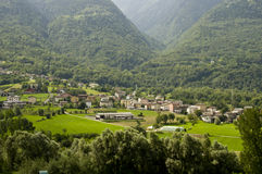 Valtellina valley landscape. Valtellina landscape Valtellina valley landscape of the country with a view Stock Photos