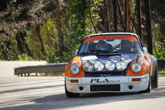 Valter Gomes drives a Porsche 911ateur Winter Rally, in Leiria, Portugal on February Royalty Free Stock Image