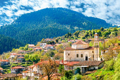 Valtessiniko village in Arcadia, Peloponnese, Greece. View of mountain village, Baltessiniko in Arcadia, Peloponnese, Greece stock images
