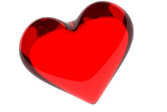 Valtntine's heart. Red glass heart to st. Valentine's day Stock Photos
