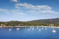 Valtos beach and green hills Parga Greece landscap Stock Photography