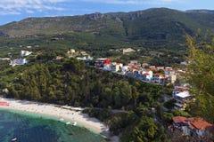 Valtos strand nära Parga i Grekland Fotografering för Bildbyråer
