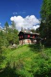 Valtournenche, Aosta Valle, Italy. wood and stone mountain chalet stock photos