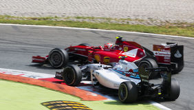 Valtteri Bottas in battle with Kimi Raikkonen at Monza Grand Pri Stock Image