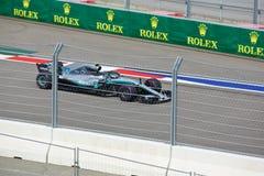 Valtteri Bottas of Mercedes AMG Petronas. Formula One. Sochi Russia. Sochi, Russia - September 30, 2018: Valtteri Bottas of Mercedes AMG Petronas F1 team racing royalty free stock image