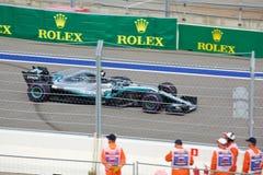 Valtteri Bottas of Mercedes AMG Petronas. Formula One. Sochi Russia. Sochi, Russia - September 30, 2018: Valtteri Bottas of Mercedes AMG Petronas F1 team racing royalty free stock photography