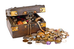 Valuable chest of treasures stock photo