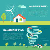 Valuable, Dangerous Wind Banners. Strength Levels Stock Photo