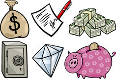 Valuable objects cartoon illustration set Stock Photo