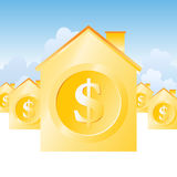 Valuable Property. Vector illustration of several gold dollar houses Stock Photography