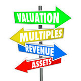 Valuation Multiples Revenues Assets Arrow Signs Company Business. Valuation, multiples, revneues and assets words on arrow signs to illustrate calculation or stock illustration