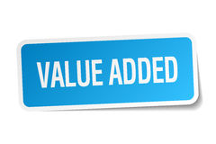 Value added blue square sticker. Isolated on white Royalty Free Stock Photography