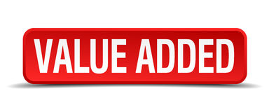 Value added red 3d square button Royalty Free Stock Image