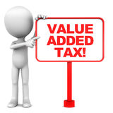 Value added tax. VAT or value added tax concept, red words on a banner presented by a little 3d man, white background Stock Image