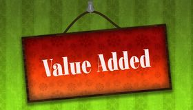 VALUE ADDED text on hanging orange board. Green striped wallpape Stock Photography