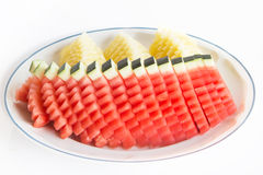 Value added from watermelon. Watermelon Sliced art for good-looking and Value Added royalty free stock image