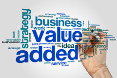 Value added word cloud. Concept on grey background stock photo