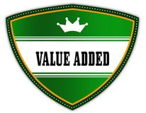 VALUE ADDED written on green shield with crown. Illustration Royalty Free Stock Image