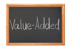 Value-added. Written in white chalk on a blackboard - value-added royalty free stock photo