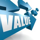 Value arrow in blue. Image with hi-res rendered artwork that could be used for any graphic design Royalty Free Stock Photo