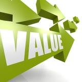 Value arrow in green Stock Photos