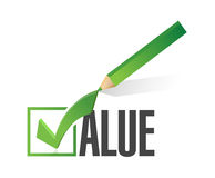 Value check mark pencil illustration design Royalty Free Stock Image