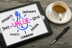 Value concept hand drawing on tablet pc Royalty Free Stock Images