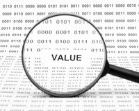 Value concept. Value under magnifier on a binary code background Royalty Free Stock Photography