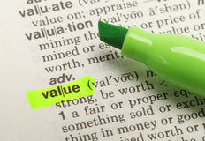 Value Definition. The Word Value Highlighted in Dictionary with Green Marker Highlighter Pen Stock Image