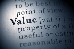 Value. Dictionary definition of the word Value stock photo