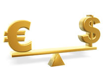 Value of dollar and euro. Golden dollar and euro symbol on balance Royalty Free Stock Images