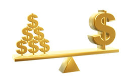 Value of dollars. Golden dollar and dollars symbol on balance Royalty Free Stock Photography